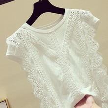 Blusa de encaje 4XL 2019 Blusas y Tops de mujer camisa de oficina blanca sólida ahueca hacia fuera Blusas informales Chemise Femme AA023S50