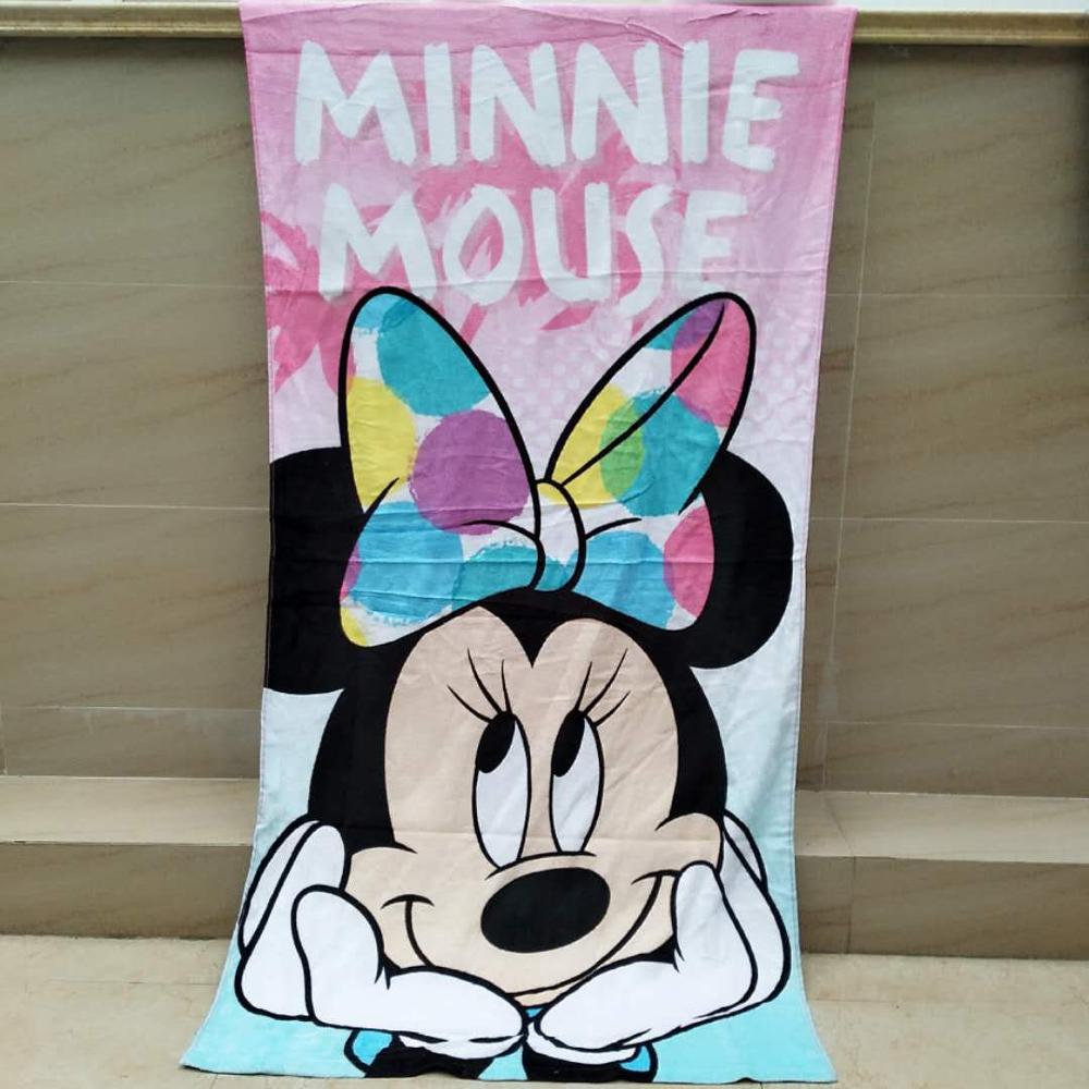 Serviette de bain/de plage 100% coton | Dessin animé Disney Minnie Mickey Mouse, 75x150cm, serviette cadeau d'anniversaire pour enfants