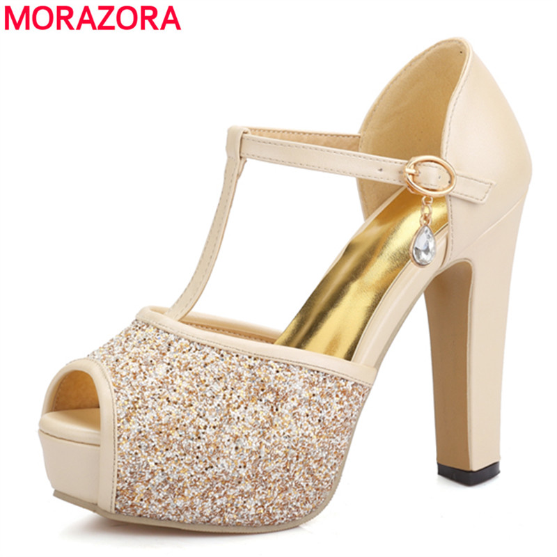 MORAZORA 2017 new high quality women sandals peep toe T strap high heels wedding shoes sexy ladies fashion platform shoes woman brand new strap high heels sandals women sandals with platform footwear woman evening shoes women sexy ladies shoes