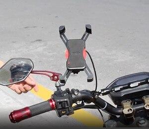 Image 2 - Soporte de teléfono para motocicleta manillar giratorio 360, soporte para teléfono móvil y espejo retrovisor para bicicleta