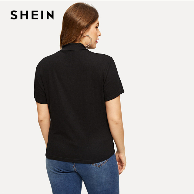 SHEIN Black Plus Mock-neck Knitted Slim Fitted Tee Solid Top Short Sleeve T Shirt Summer Plus Size Women Casual Tshirt Tops 2