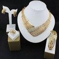 Sistemas de la Joyería de moda Para Las Mujeres de Cristal Fino Collar de Perlas Africanas Set Pendientes Colgante Chapado En Oro de Accesorios Del Vestido de Boda 16
