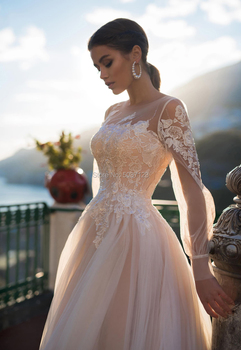 Champagne A Line Wedding Dresses 2020 Vestido De Noiva Beach Long Puff Sleeves Lace Appliques Lace Up Button Bridal Gowns 3