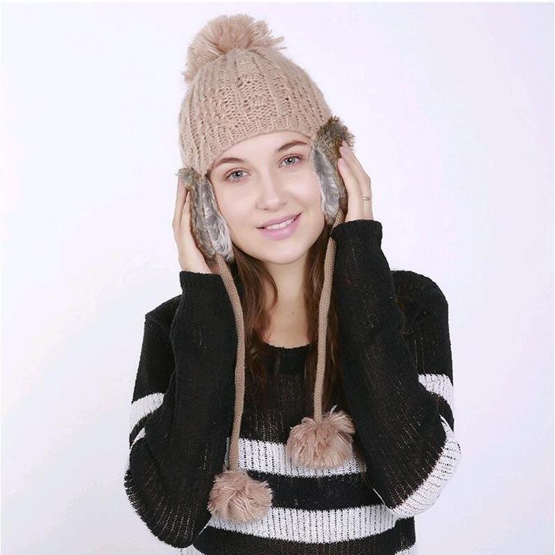 2017 Winter Knitting wool Hats for Women Warm Beanies Female Caps Girls chapeau Pompom with Top Ball Earflaps hat skullies beanies winter woman fashion knitting hats with pompom beanies girls warm letter b cap