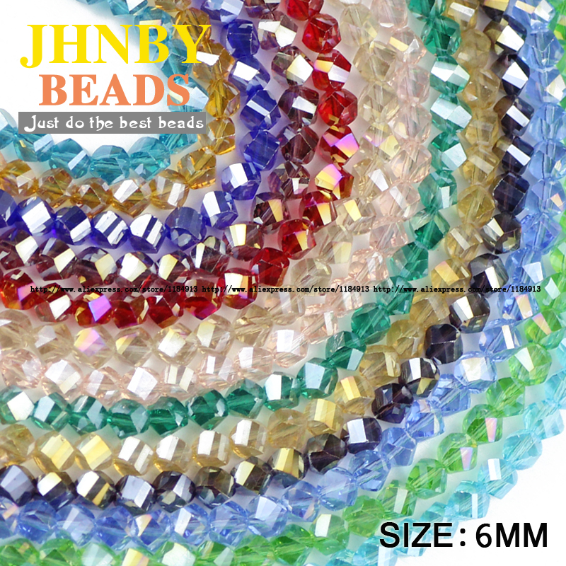 Twist  Faceted Austrian crystal beads 50pcs 6mm High quality glass Loose fit handmade Jewelry bracelet making DIY