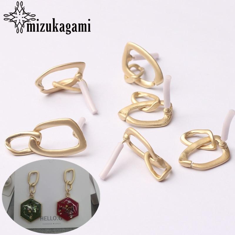 Zinc Alloy Golden Metal Geometric Chain Shape Base Earrings Connector 6pcs/lot For DIY Drop Earrings Making Jewelry Accessories