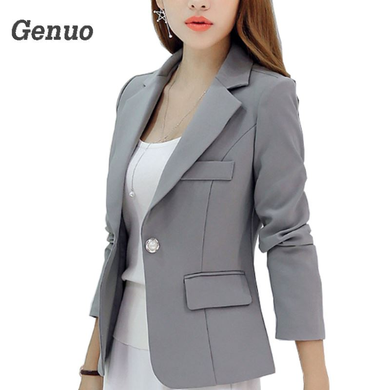 Genuo New Long-sleeved Slim Women Blazers And Jackets Office Women Lady Suit Korean Style Ladies Casual Blazers Coat