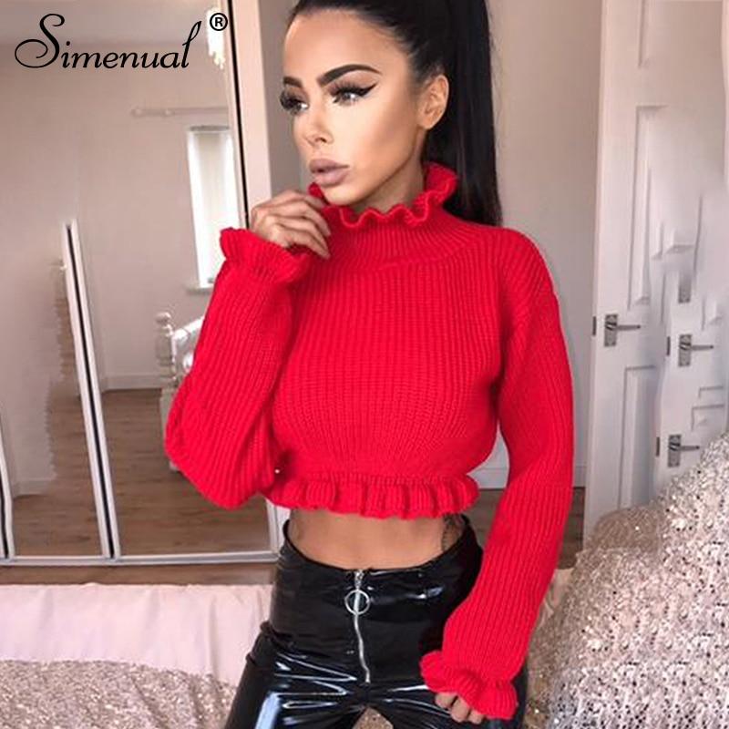 Simenual Ruffles women's turtlenecks sexy crop sweater Y0801
