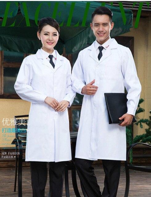 14f952b27b71d Женские или мужские белый медицинский пальто одежда медицинские услуги  Форма Медсестра одежда с длинными рукавами полиэстер