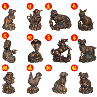fortune Imitation bronze zodiac sculpture help trans resin chicken dragon Pig dog ox and horse sculpture decoration statue Home