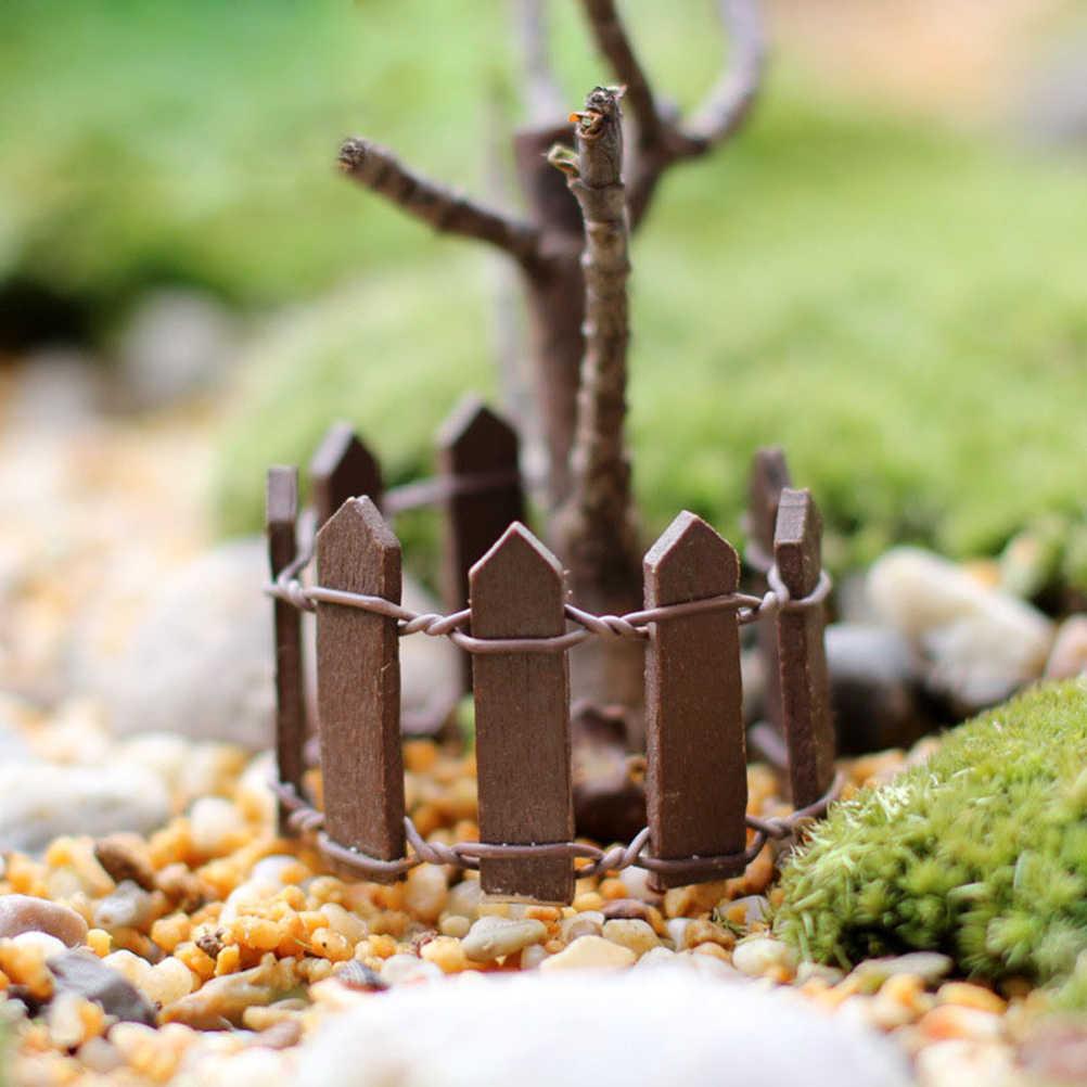 Diy madeira cerca paliçada miniatura fadas jardim casa casas decoração mini artesanato micro paisagismo ornamentos acessórios