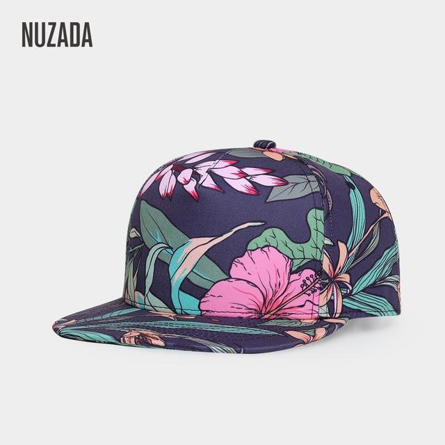 840154abff5 NUZADA Men Women Baseball Cap Snapback Printing Flowers Couple Hats Quality  Cotton Caps Bone