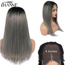 HANNE Hair – perruque Lace Closure Wig Remy brésilienne naturelle, cheveux lisses, gris ombré, 4*4, pour femmes noires/blanches