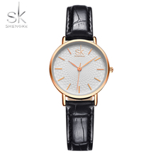 SK Women Fashion Wrist Watches Black Leather Watchband Top Luxury Brand Female Simple Bracelet Clock Ladies Gold Wristwatch 2017