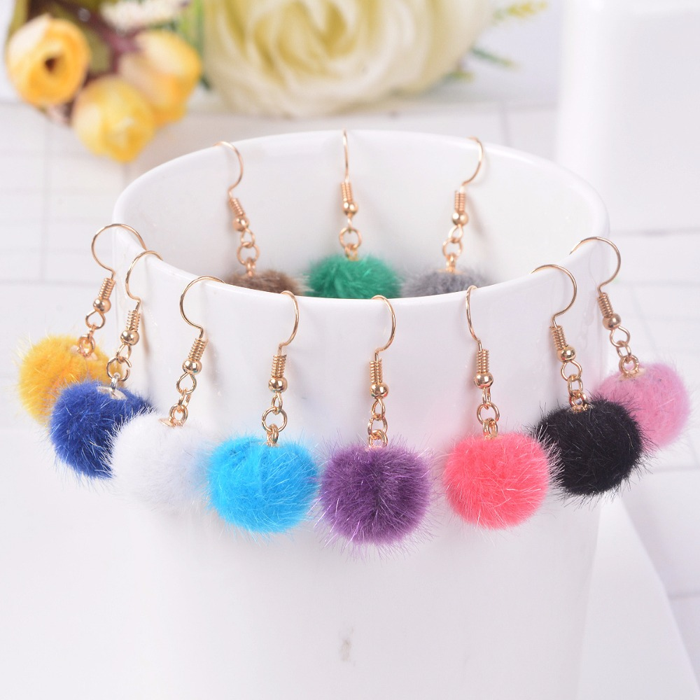 Candy Colors Cute Macarons Warm Villus Earring Fluff Ball Hook Earring For Women Girls Fashion Jewelry For Season Daily Gifts