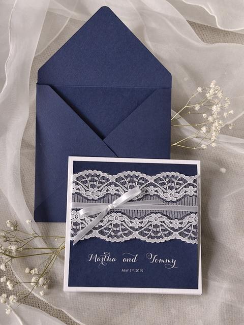Ca0728 Handmade Navy Blue Lace Wedding Invitation Cards