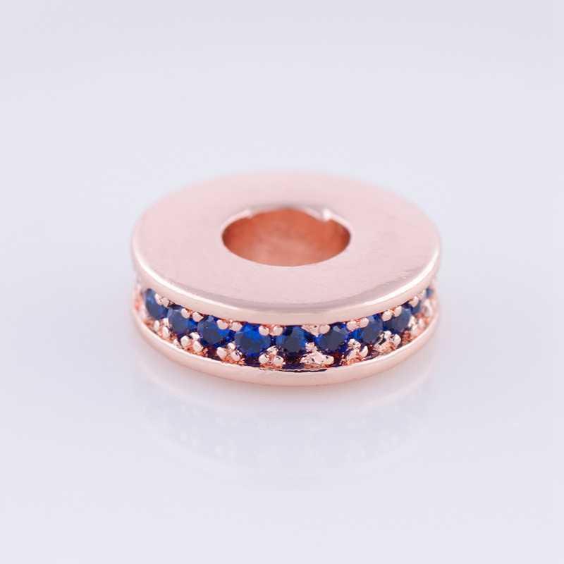 Perles en cuivre or Rose argent Micro Pave clair/bleu zircone ronde strass perles entretoises 10mm pour la fabrication de bijoux à bricoler soi-même Bracelet