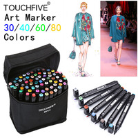 TouchFIVE 30 40 60 80 Color Art Marker Set Dual Headed Artist Sketch Oily Alcohol Based