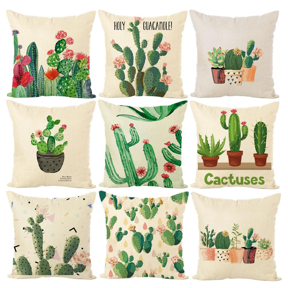 45*45cm Linen Pillow Case Green Plant Pillowcase Cactus Square Throw Pillowcases Decorative Pillow Anime Body Pillow Home Decor
