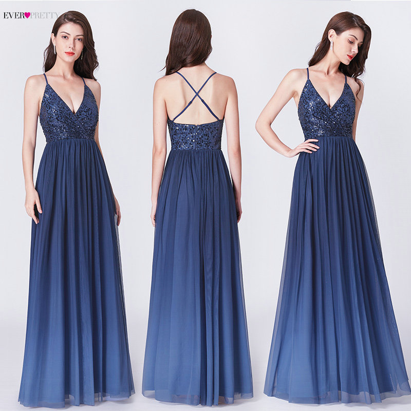 Prom     Dresses   2019 Ever Pretty EP07468 New Elegant A Line V Neck Backless Long Sequined Formal Wedding Party Gowns Robe De Soiree