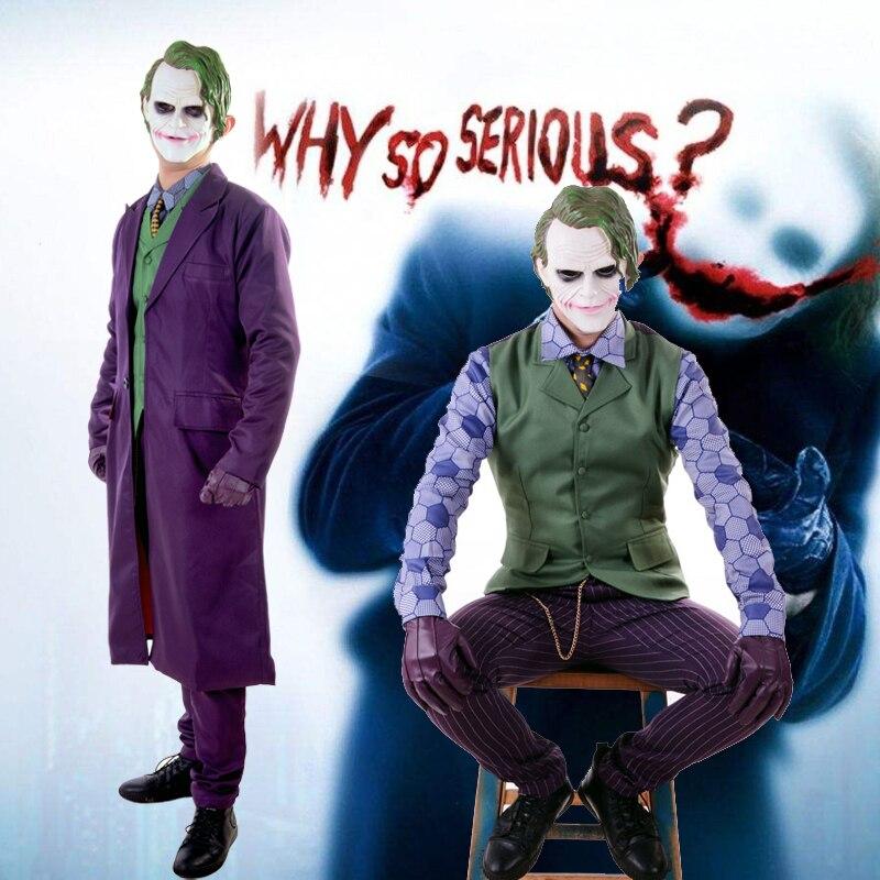 Бэтмен Темный рыцарь Джокер косплэй костюм полный комплект наряды для мужчин костюмы на Хэллоуин нарядное платье индивидуальный заказ