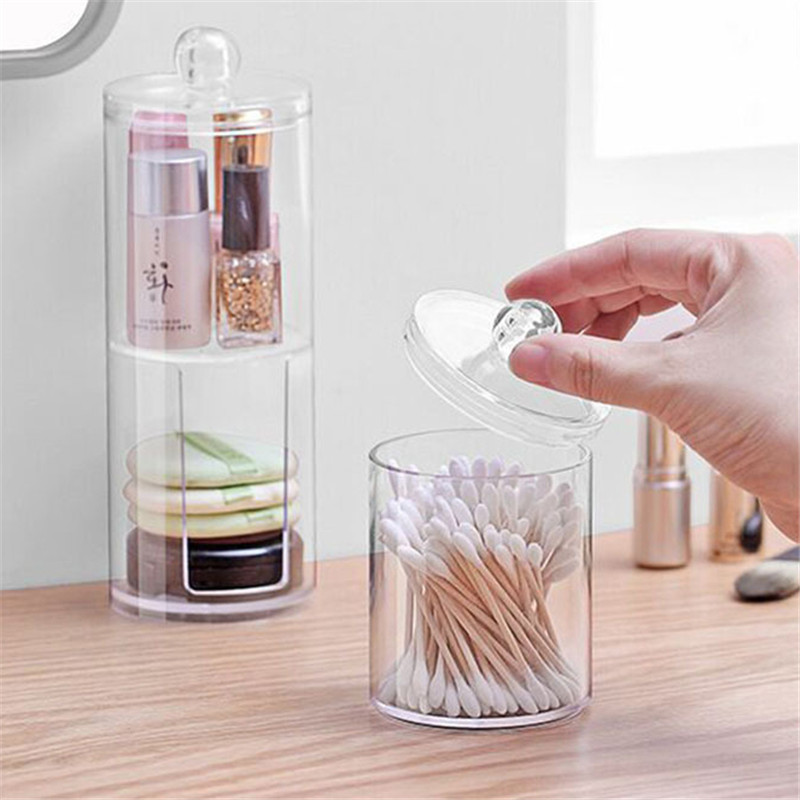 Transparent Acrylic Cotton Swab Makeup Organizer Storage Box Cosmetic Makeup Cotton Pad Organizer Jewelry Storage Box