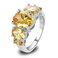 2015 Wholesale Brilliant Citrine 925 Silver Ring Size 6 7 8 9 10 11 12 13 New Fashion Jewelry Gift  For Women Free Shipping