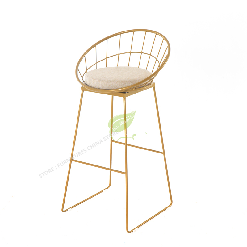 Europe Originality Metal Bar Counter Chair Designer Dining Chair Modern Concise Household Leisure Time Chair Bar Chair Metal