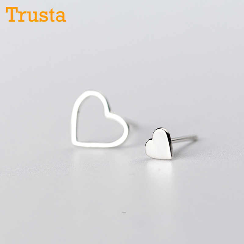 Trusta 100% 925 Sterling Silver Women Jewelry Fashion Cute Tiny Asymmetric Hollow Heart Stud Earrings For Daughter Girls DS280