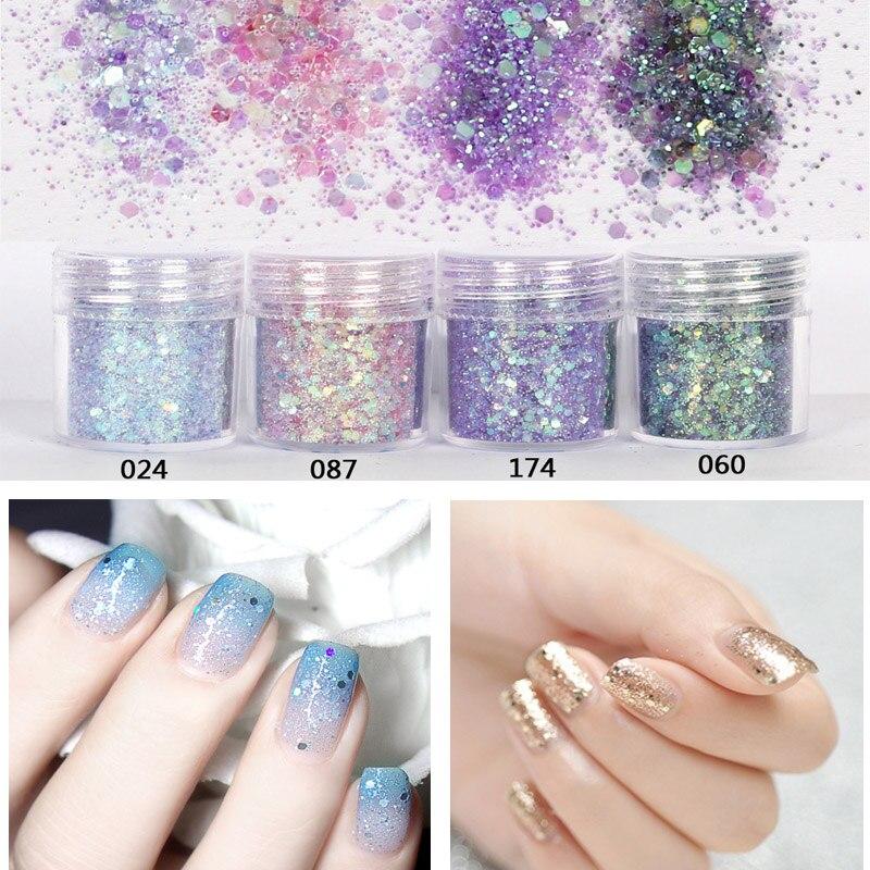 4pcs/ pack Nail Art DIY Kit Decoration Cosmetic Glow Rainbow Pigment ...