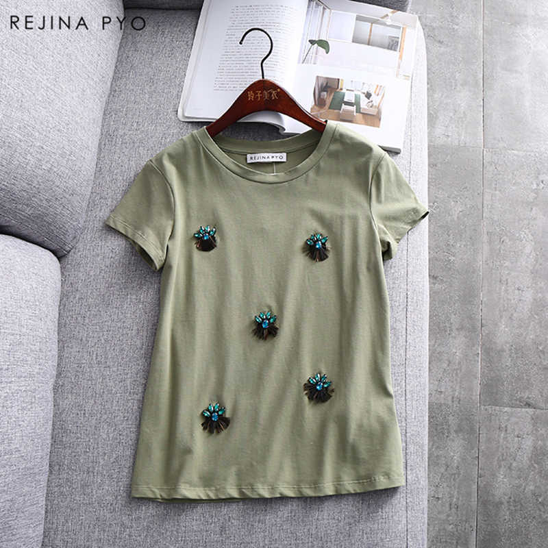 REJINAPYO Women Solid Casual T-shirt O-neck Handmade Diamonds Beading Decroation Female Basic Fashion Tees Summer New Arrival