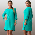 Женщины Партия Dress Элегантный Твердых Сыпучих Плюс Размер 5XL Длинные рукавом Длиной До Колен Лето Dress Повседневная С Длинным Макси Dress женщины одежда