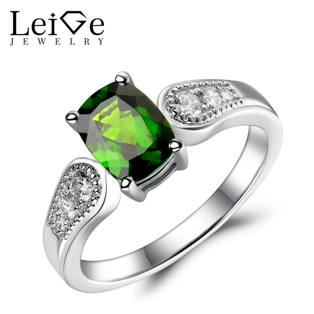 Leige Jewelry Natural Chrome Diopside Ring Sterling Silver 925 Green