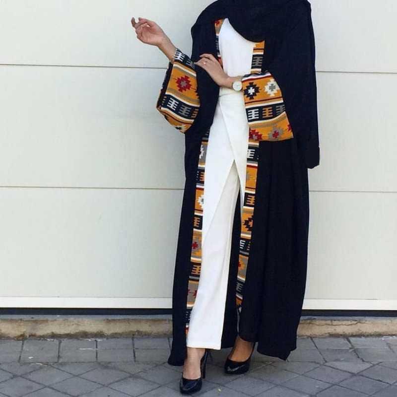 ムスリムアバヤプリントドレスカーディガンロングローブガウン着物 Jubah ラマダン中東トーブ礼拝イスラム服