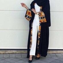 Muslim Abaya Print Dress Cardigan Long Robe Gowns Kimono Jubah Ramadan Middle East Thobe Worship Service Islamic Prayer Clothing