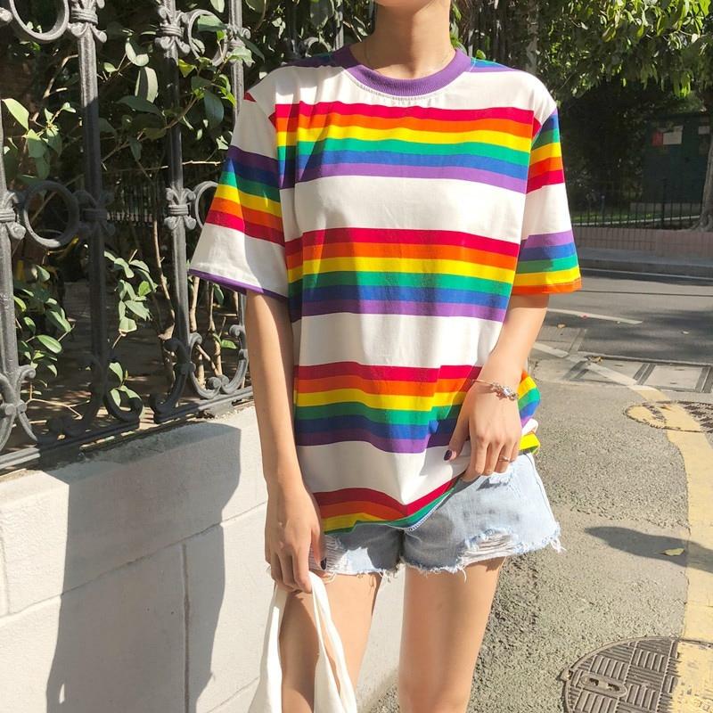T Shirt Women Rainbow Striped Tops Harajuku Tshirt 2018 Summer Short Sleeve Korean Punk T-shirt camiseta feminina
