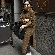 [Gutu] осень-зима корейской моды сплошной Цвет платье Для женщин длинный рукав водолазка большой Размеры свободное платье Женский Q024