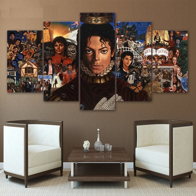 Hd Printed 5 Piece Canvas Art Michael Jackson Posters Paintings Living Room Decor And Prints