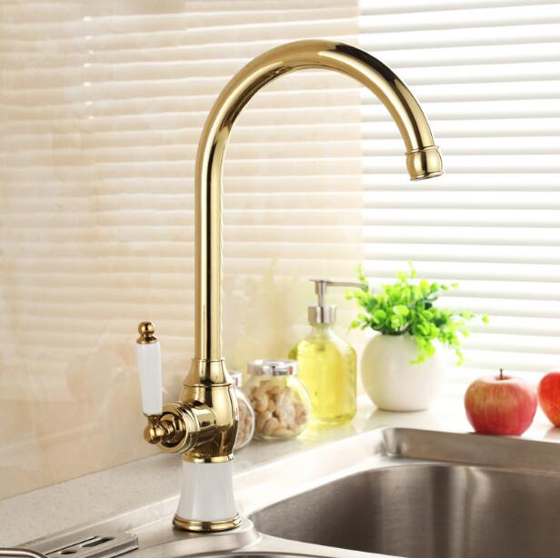 Kitchen faucet gold Copper water tap cold and hot Sink faucet Vegetable washing basin sink mixer 360 degree rotating faucet mttuzk kitchen faucet golden rose gold copper for cold and hot water tap sink faucet vegetable washing basin 360 rotating faucet