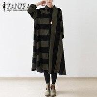 ZANZEA Vintage Women Turn Down Collarl Buttons Down Shirt Batwing Oversized Stripe Long Shirt Dress Kaftan