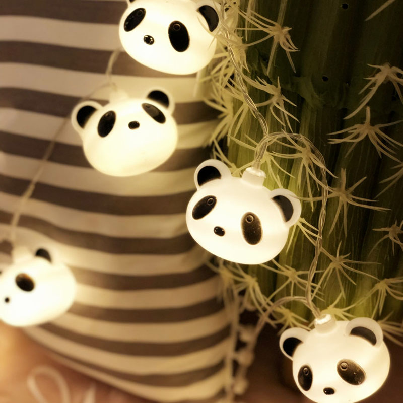 40 LED Fairy Cartoon Panda Battery Operated String Lights 6M Luces LED Decoration For Christmas Garland New Year Guirlande