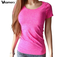 VEAMORS Yoga Gym Compression Tights Women s Sport T shirts Dry Quick Running Short Sleeve Fitness