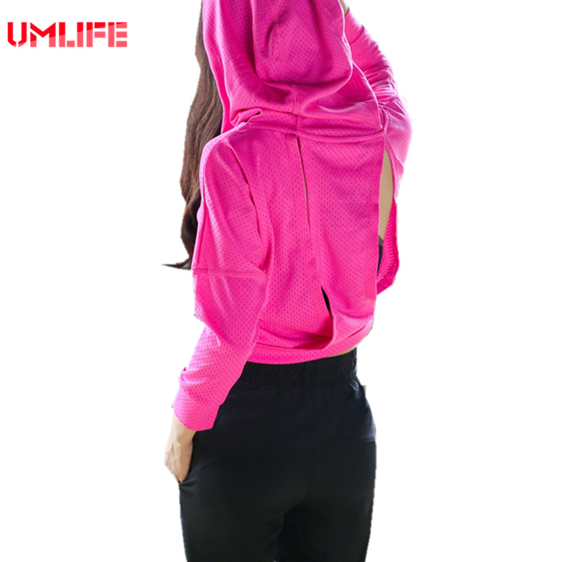 UMLIFE Women Sports Top Shirt Hooded Jacket Outdoor Fitness Gym Yoga Short Coat Lady Slim Breathable Running Clothes Plus Size