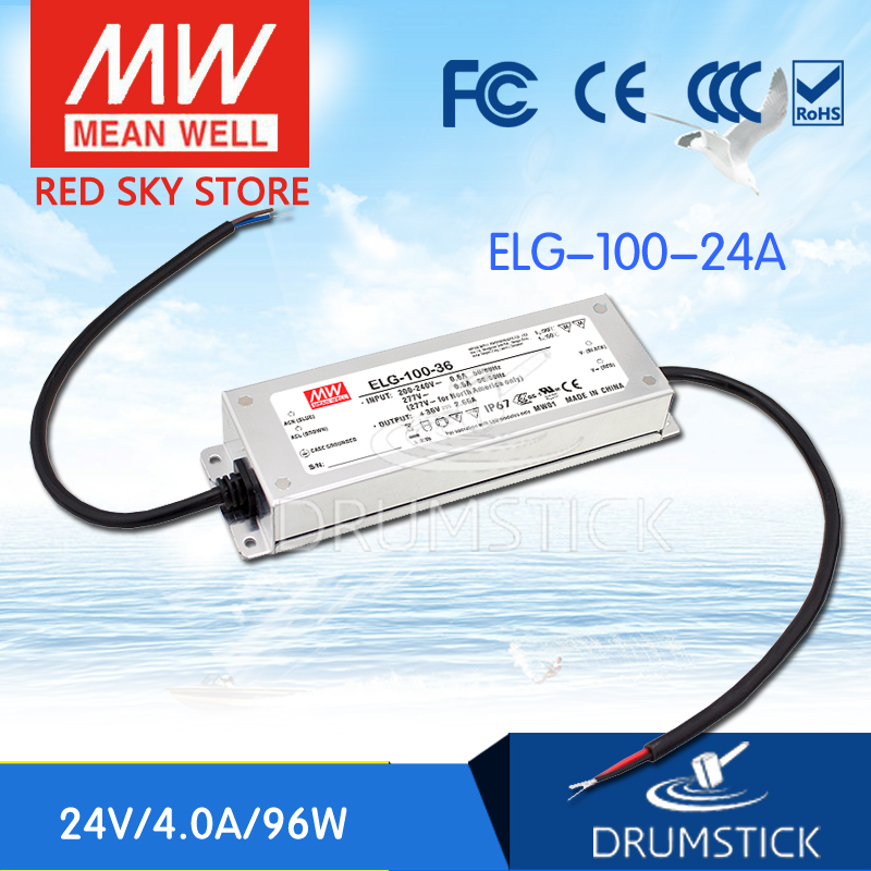 (Only 11.11)MEAN WELL ELG-100-24A-3Y (2Pcs) 24V 4A meanwell ELG-100 24V 96W Single Output LED Driver Power Supply A type only 11 11 selling hot mean well se 100 24 2pcs 24v 4 5a meanwell se 100 24v 108w single output switching power supply