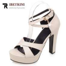 RIBETRINI Zusätzliche Größe 31-43 Offene spitze Rom Kreuz Binden Super High Heels Frau Schuhe Schnalle Kristall Plattform Sommer sandalen Frauen