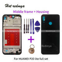 Replacement For Huawei P20 lite Middle Frame Housing Cover For HUAWEI P20 lite Bezel Plate Chassis+Battery Back cover With Tools