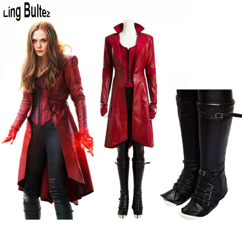 Ling Bultez High Quality Newest Scarlet Witch Costume Set Movie Captain America 3 Civil War Scarlet Witch Costume