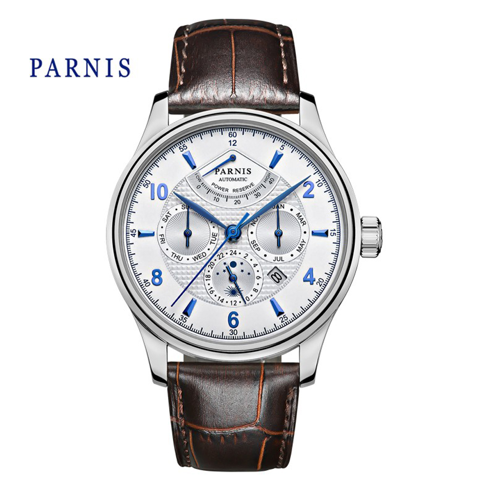 Business 43mm Parnis Blue Mark Sapphire Automatic Sapphire Men s Watch