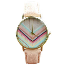 Unisex Vogue Rainbow sample Leather-based belt quartz Wrist Watch Pink