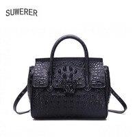 2019 новая женская сумка Улучшенная яловая натуральная кожа сумки модные черные с узором «крокодиловая кожа» женские сумки через плечо